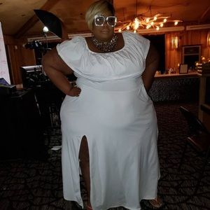 All white dress with high Split